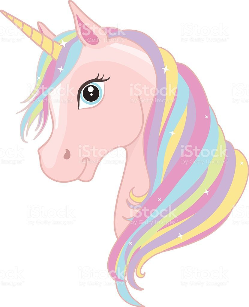 Pink Unicorn Head With Rainbow Mane And Horn Isolated On White
