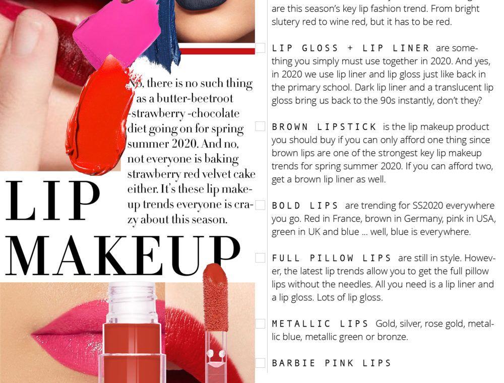 Biggest Lip Makeup Trends For Spring Summer 2020 Lip Makeup