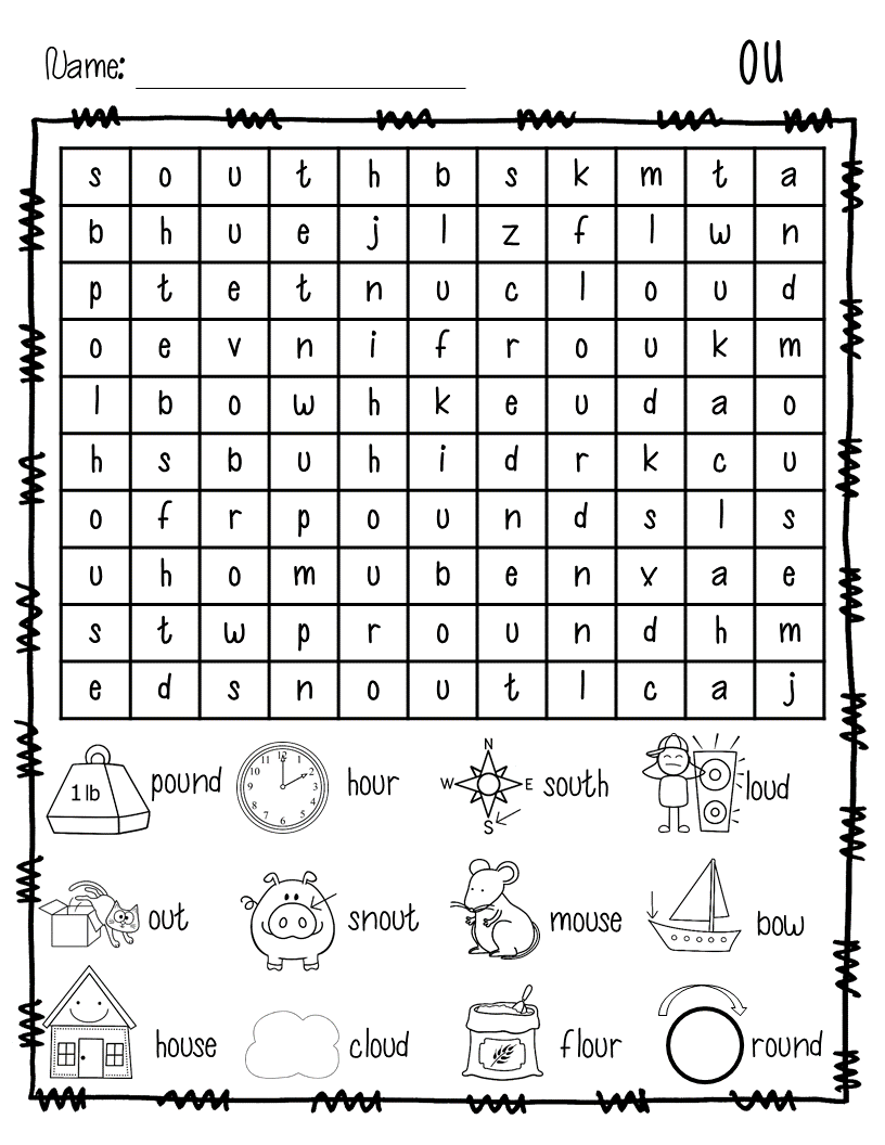 Coloring worksheets phonics - Diphthongs Ou Ow Word Search Freebie