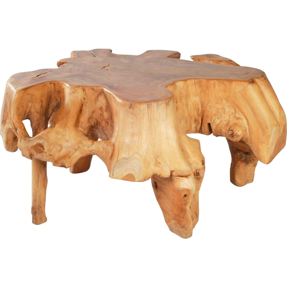 Zuo Modern Broll Coffee Table In Organic Shape Teak W Acrylic Gold Accents