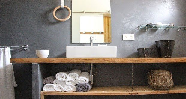 Plan vasque à faire soi-même en béton, bois, carrelage
