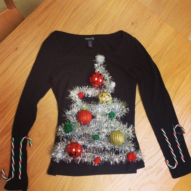 40 Cheap and Easy Ugly Christmas Sweater DIYs | Sleeve, Candy ...