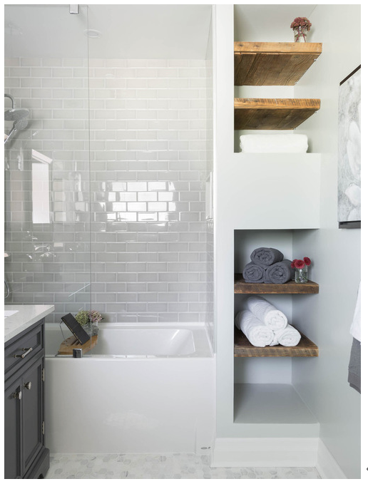 Bathroom white subway tile mosaic floor glass shower tub wood shelving carriage lane design build inc also pin by on loft pinterest makeovers lofts and