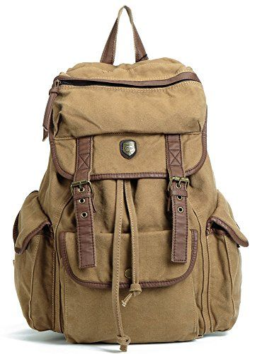 9014e94b19 Piliao Bug Bag Vintage Canvas Backpack Casual Rucksacks Camping Outdoor  Daypacks Khaki -- You can get additional details at the image link.