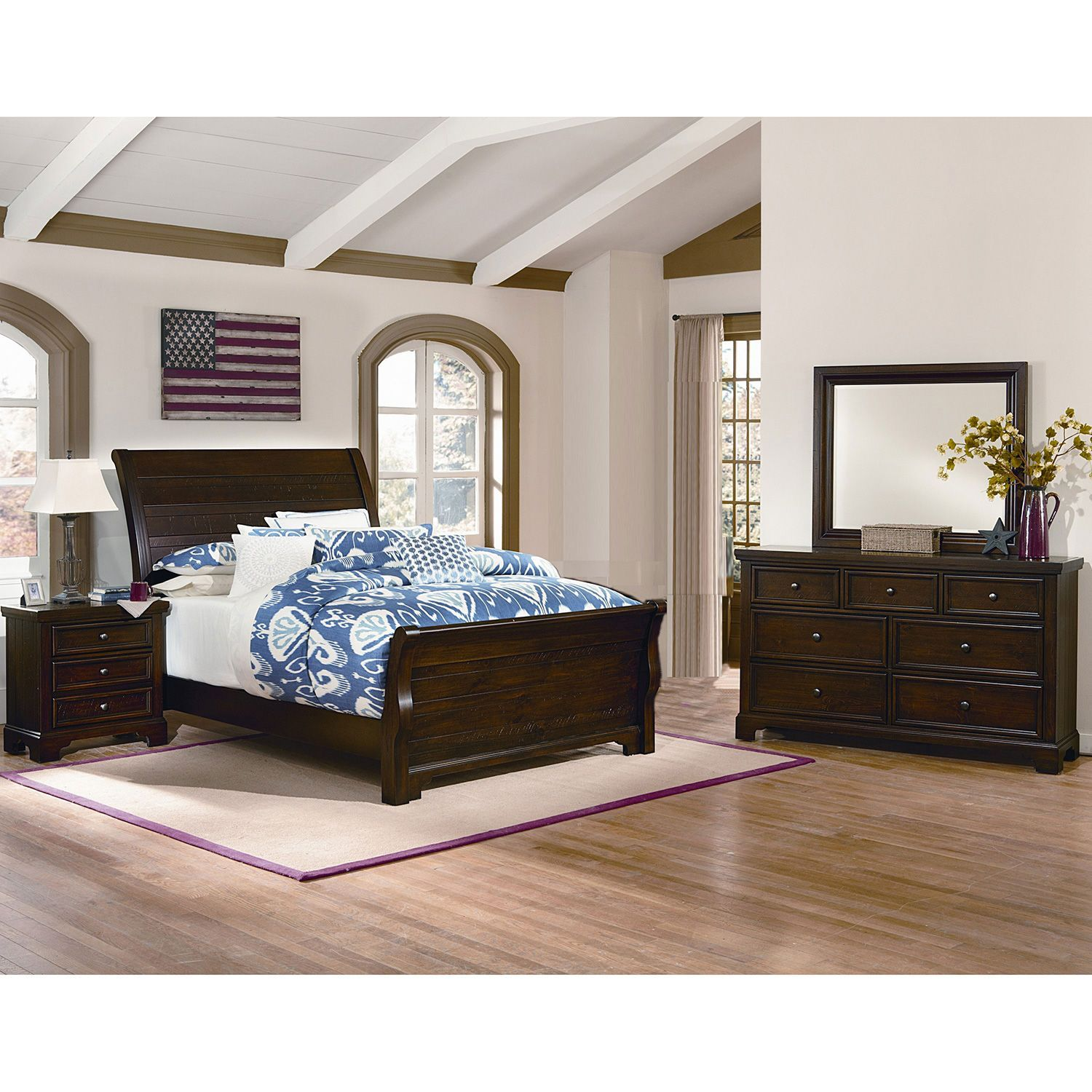 Brooklyn Sleigh Bedroom Set, Queen (4 pc. set) | Bedroom ...