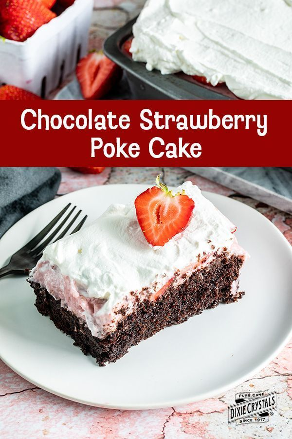 Strawberry Poke Cake Chocolate Strawberry Poke Cake - This features a rich topped with a homemade then garnished with sliced and Creme Chantilly. A perfect sweet treat for when are ripe. For more cake recipes visit .Chocolate Strawberry Poke Cake - This features a rich topped with a homemade then garnishe...