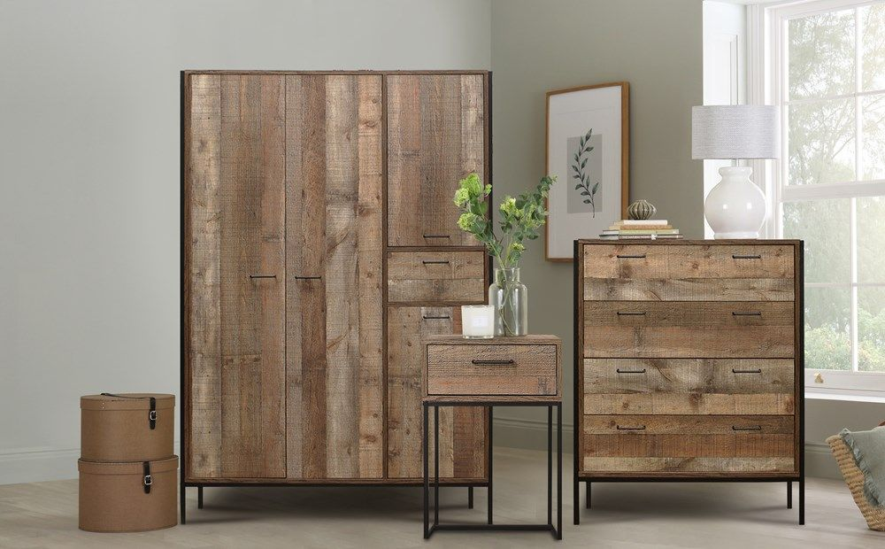 Urban Rustic 3 Piece 4 Door Wardrobe Bedroom Furniture Set #rusticbedroomfurniture