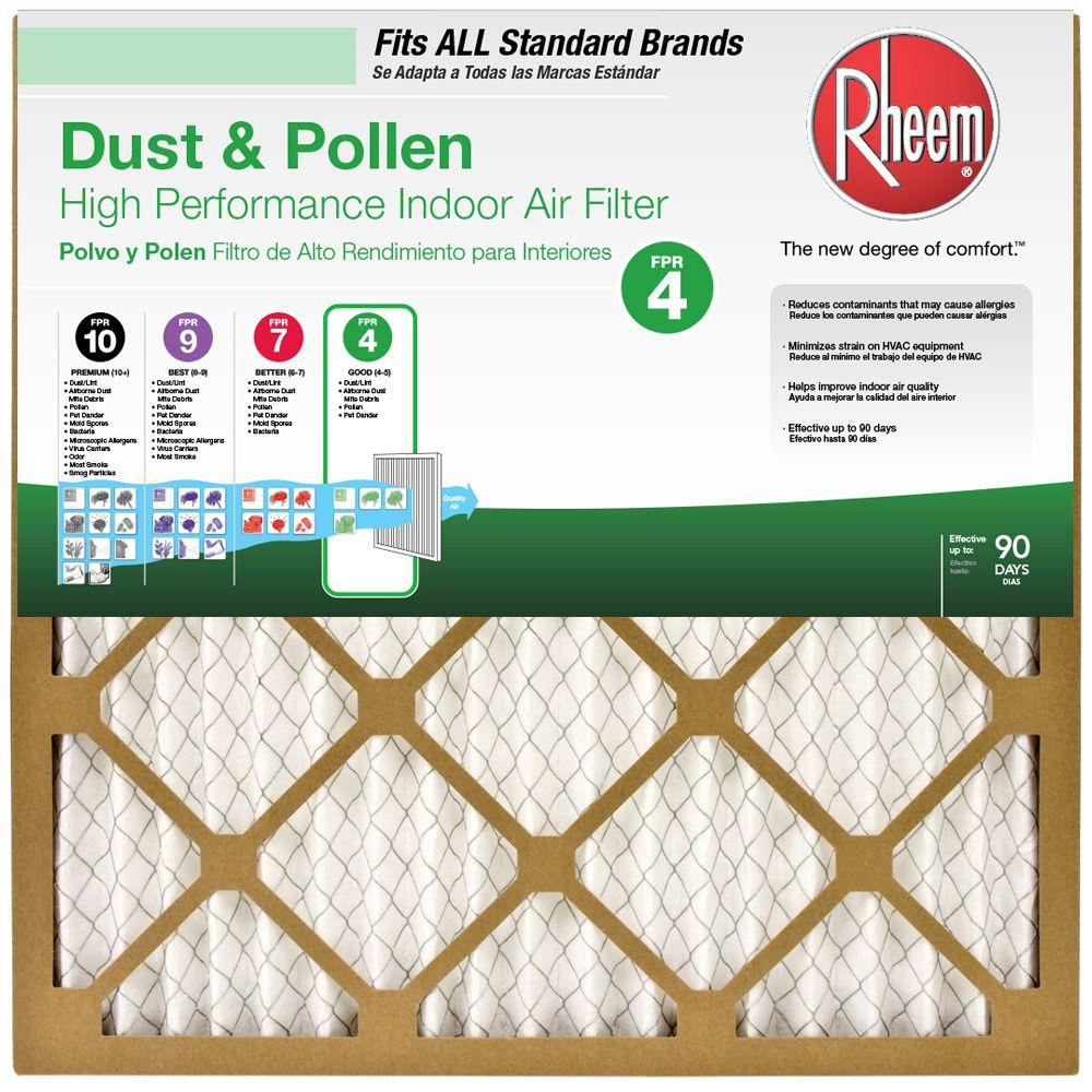 Rheem 16 In X 20 In X 1 In Basic Household Pleated Fpr 4 Air Filter 64100 011620 The Home Depot In 2020 Air Filter Indoor Air Filter Air Filter Sizes