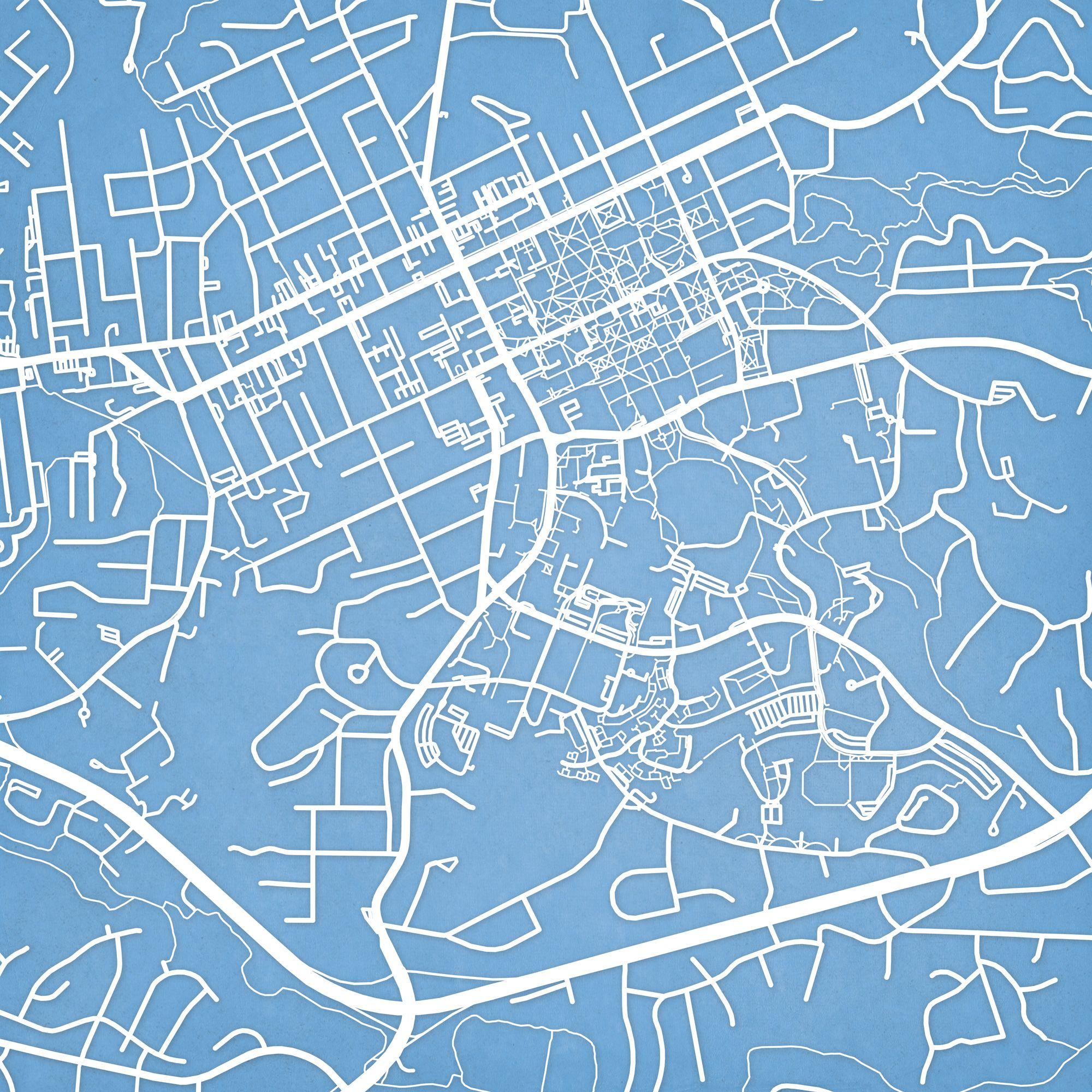 University Of North Carolina At Chapel Hill Campus Map Art With
