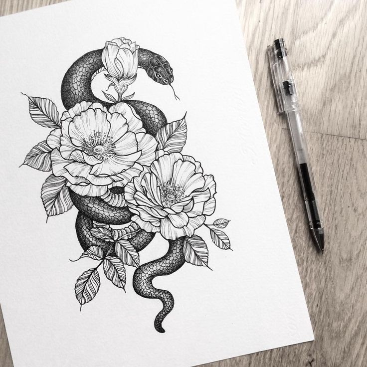 Illustration Ink Design Dotwork Iblackwork Linework Flower Snake Design Dotwork Flower Iblackwork Illustrat Tattoo Ideen Diy Tattoo Fingertattoo