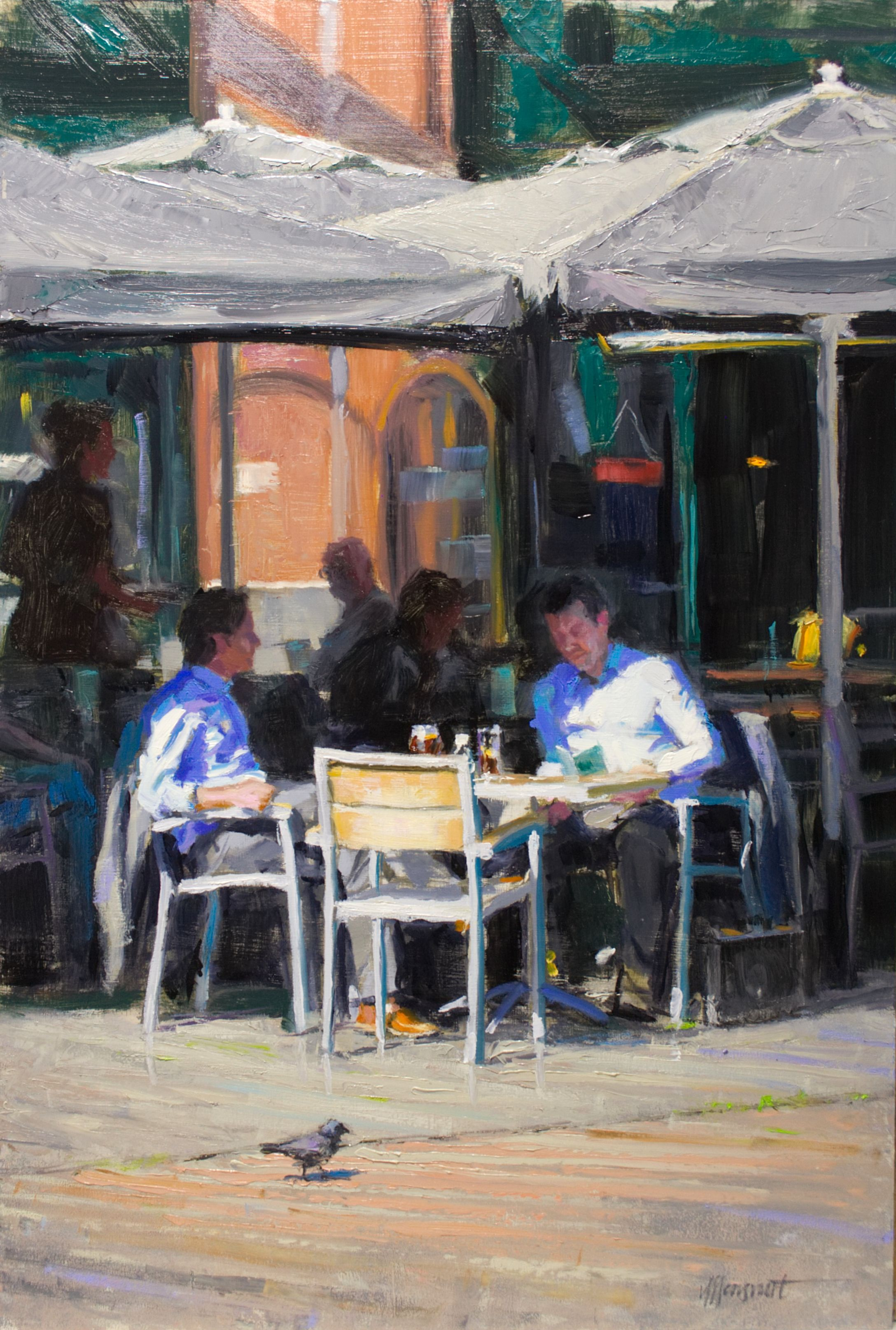 Business lunch | oil on panel painting by Richard van Mensvoort