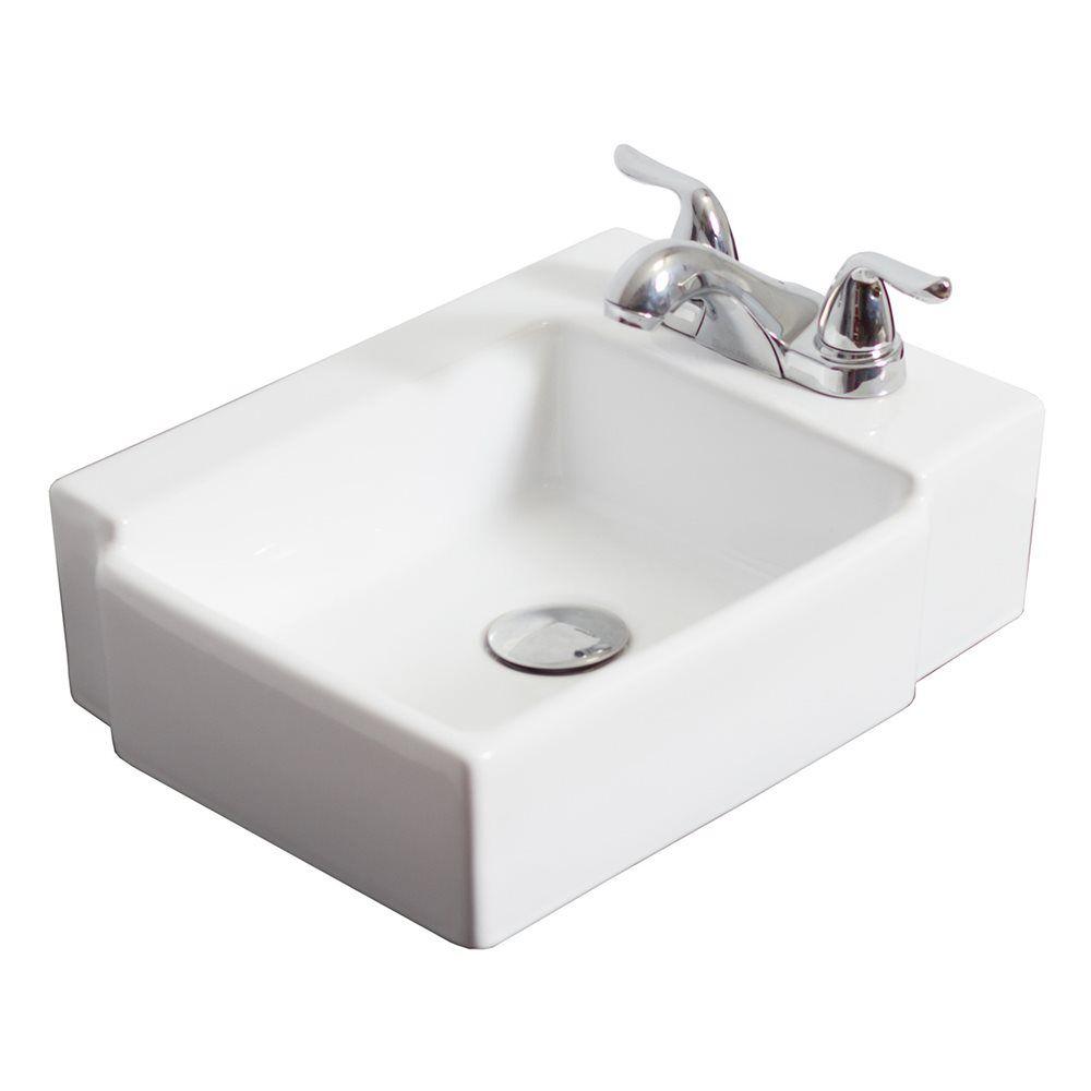 American Imagination Ai 130 Wall Mount Rectangle Ceramic Vessel Sink Lowe S Canada Bathroom