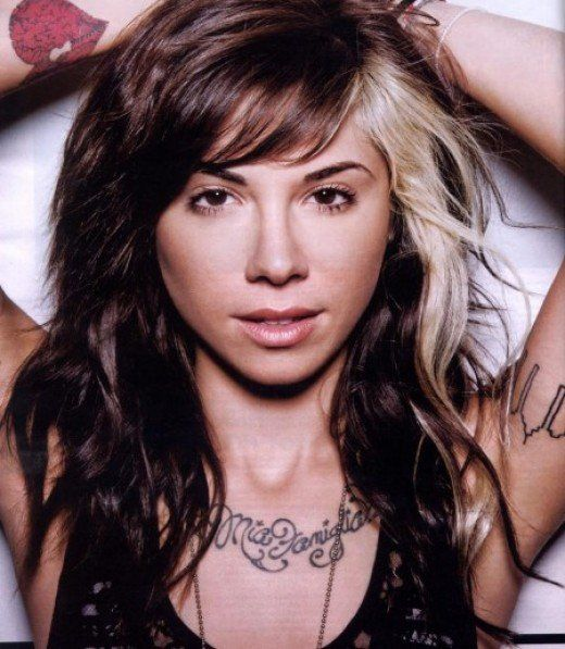 Christina Perri with streaked hair on her left side.                                                                                                                                                     More