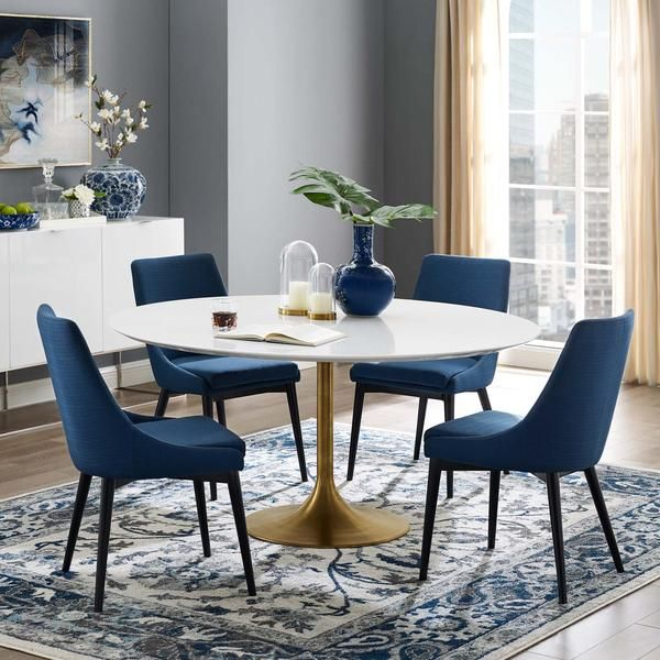 Modway Lippa 60 Round Wood Top Dining Table In Gold White 60 Round Dining Table Dining Table Gold Round Dining Room Table