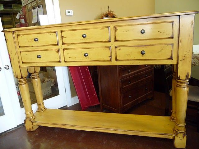 French Yellow Buffet Table Distressed Home Furniture Entry Table