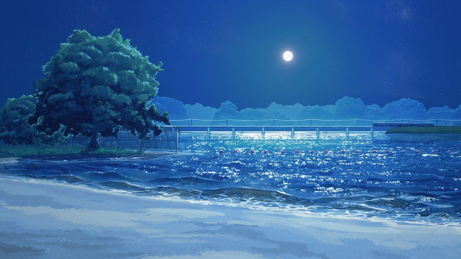 Beach Arsenixc Trees Everlasting Summer Sea Clouds Visual Novel Moon Wallpaper Anime Scenery Anime Scenery Wallpaper Scenery Wallpaper
