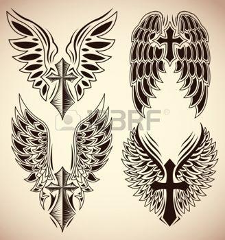 kreuz tattoo set kreuz und fl gel t towierung elemente illustration tatoot croix. Black Bedroom Furniture Sets. Home Design Ideas