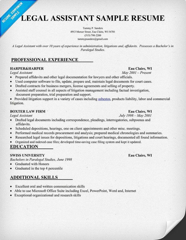 Legal Assistant Resume Sample (resumecompanion) Resume - legal resume examples