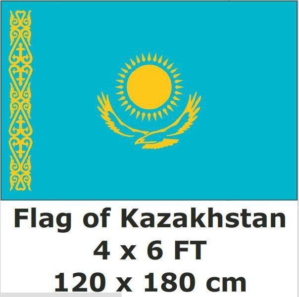 Kazakhstan National Flag 4ft X6 Ft Hanging Flag Polyester Kazakhstan Flag Outdoor Indoor 120x180cm Big Flag For Celebration Hanging Flags National Flag