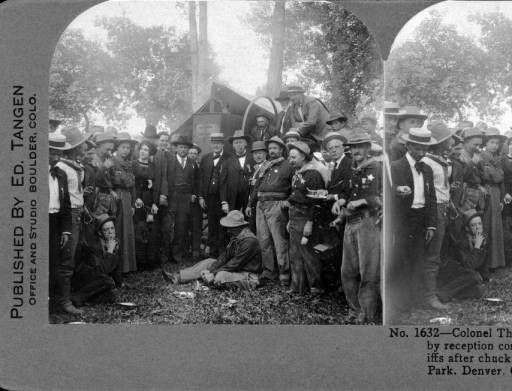 Colonel Theodore Roosevelt surrounded by reception committees and Colorado sheriffs after chuck wagon dinner at Overland Park, Denver Colorado :: Western History