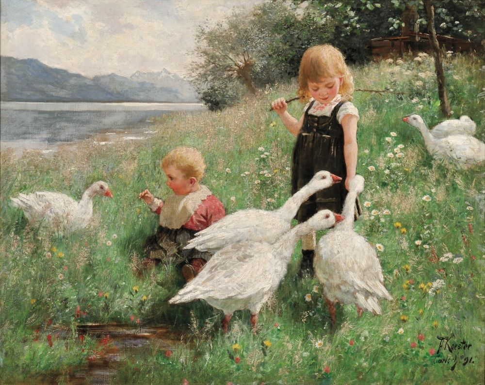 Alexander Max Koester (1864-1932) — Children and Geese in a Lakeside Meadow, 1891 (1000×795)