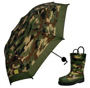 Western Cheif Rubber Boots & Umbrella Set Toddler Camo Army Green Rain Galoshes