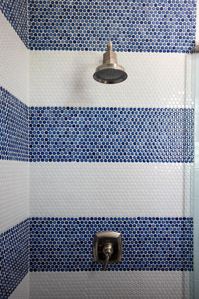 Shower Blue And White Penny Tile