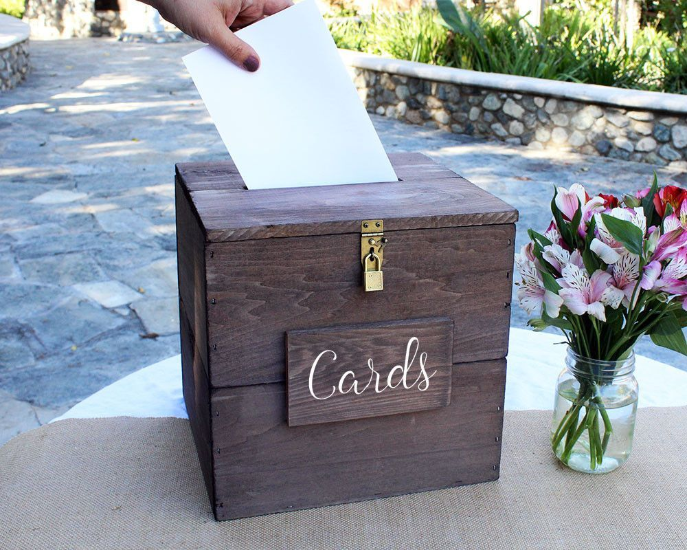 White Distressed Rustic Wooden Card Box With Card Slot Included