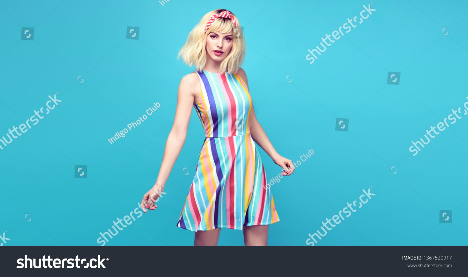 Young fashionable girl Smiling jump in Studio. Beautiful easy-going blonde woman in Stylish summer dress having fun, makeup, Trendy sneakers. Cheerful happy model, funny fashion concept #Sponsored , #spon, #easy#Beautiful#blonde#Stylish
