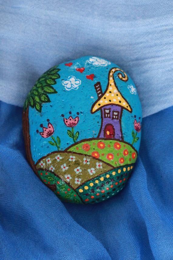 Hand Painted Rocks Elves Home Elf's House Acrylic Painting Sea Beach Stone Art Decor Painted Pebbles,  #acrylic #acrylicpaintings #Art #Beach #Decor #Elfs #Elves #Hand #home #House #Painted #painting #Pebbles #Rocks #sea #Stone