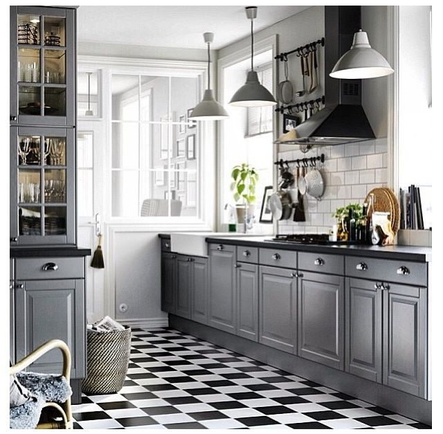 Best Ikea Grey Kitchen With Black And White Tiled Floor Lovely 640 x 480