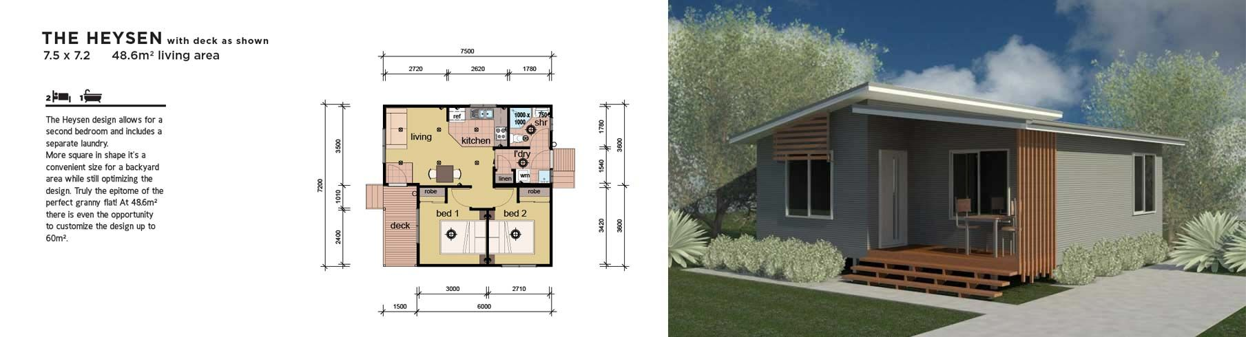 Two Bedroom House Design Pictures Awesome The Heysen 2 Bedroom Granny Flat Pre Fab Home  Homefloorplans Design Ideas