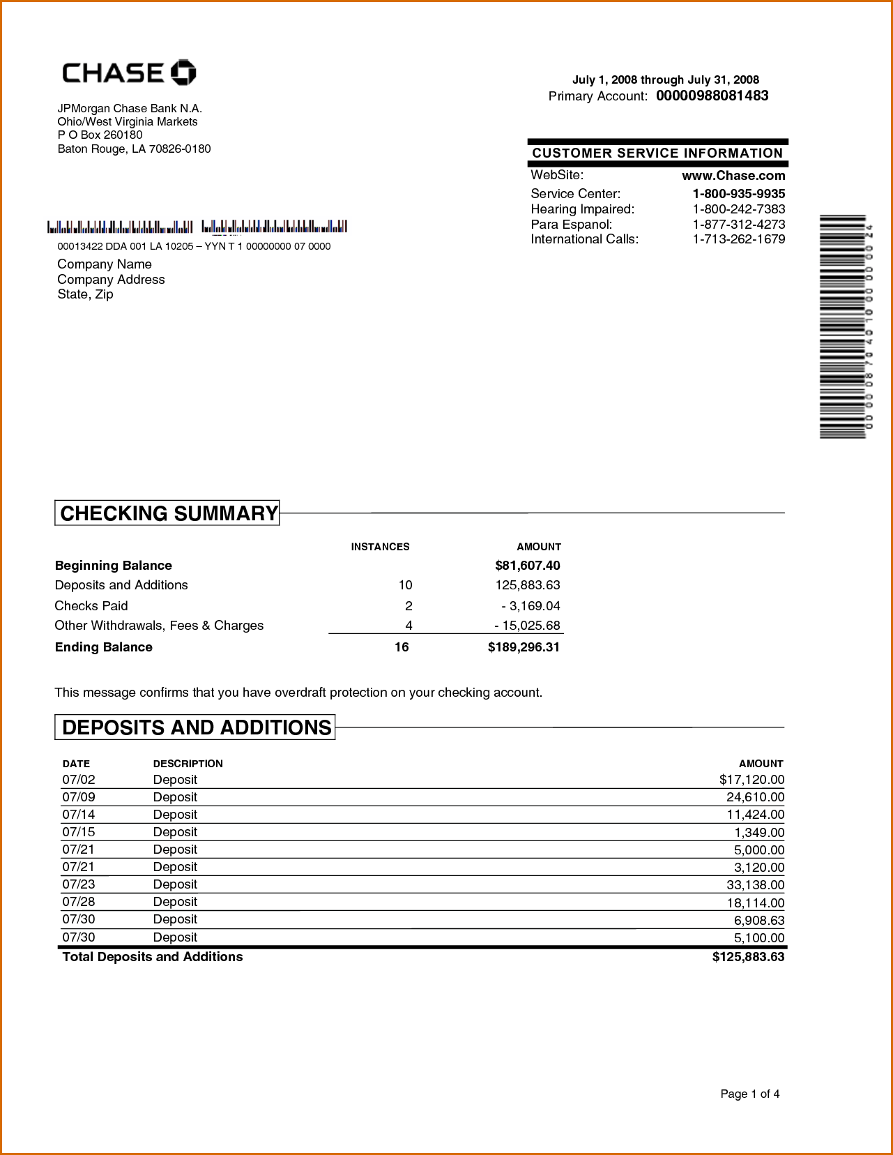 Chase Bank Statement Online Template  Best Template Collection