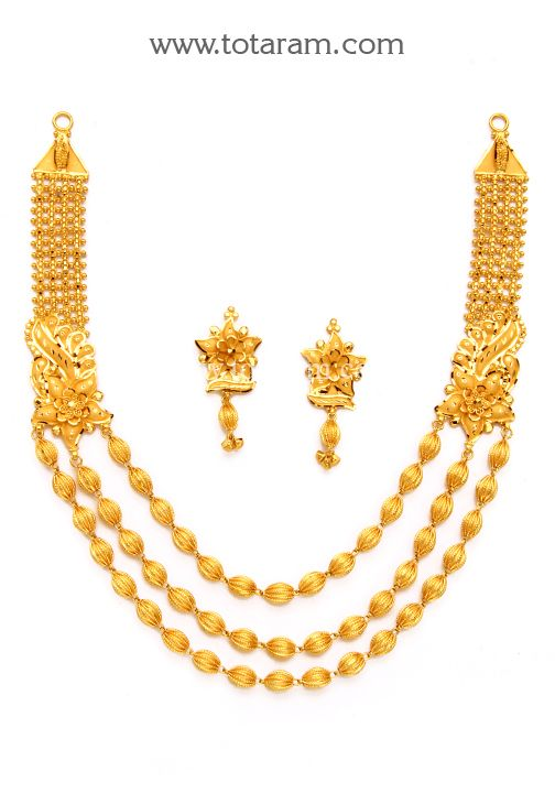 22K Gold 3 Lines Necklace Earrings set Traditional Gold