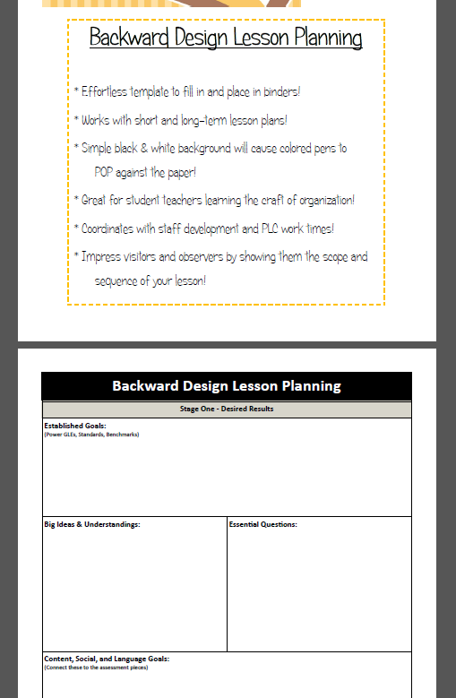 Backward Design  Lesson Plan Template  Teacher Template And