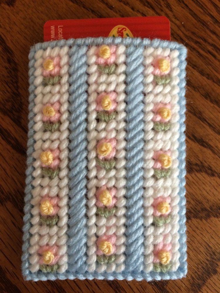 Handmade needlepoint plastic canvas gift card holder