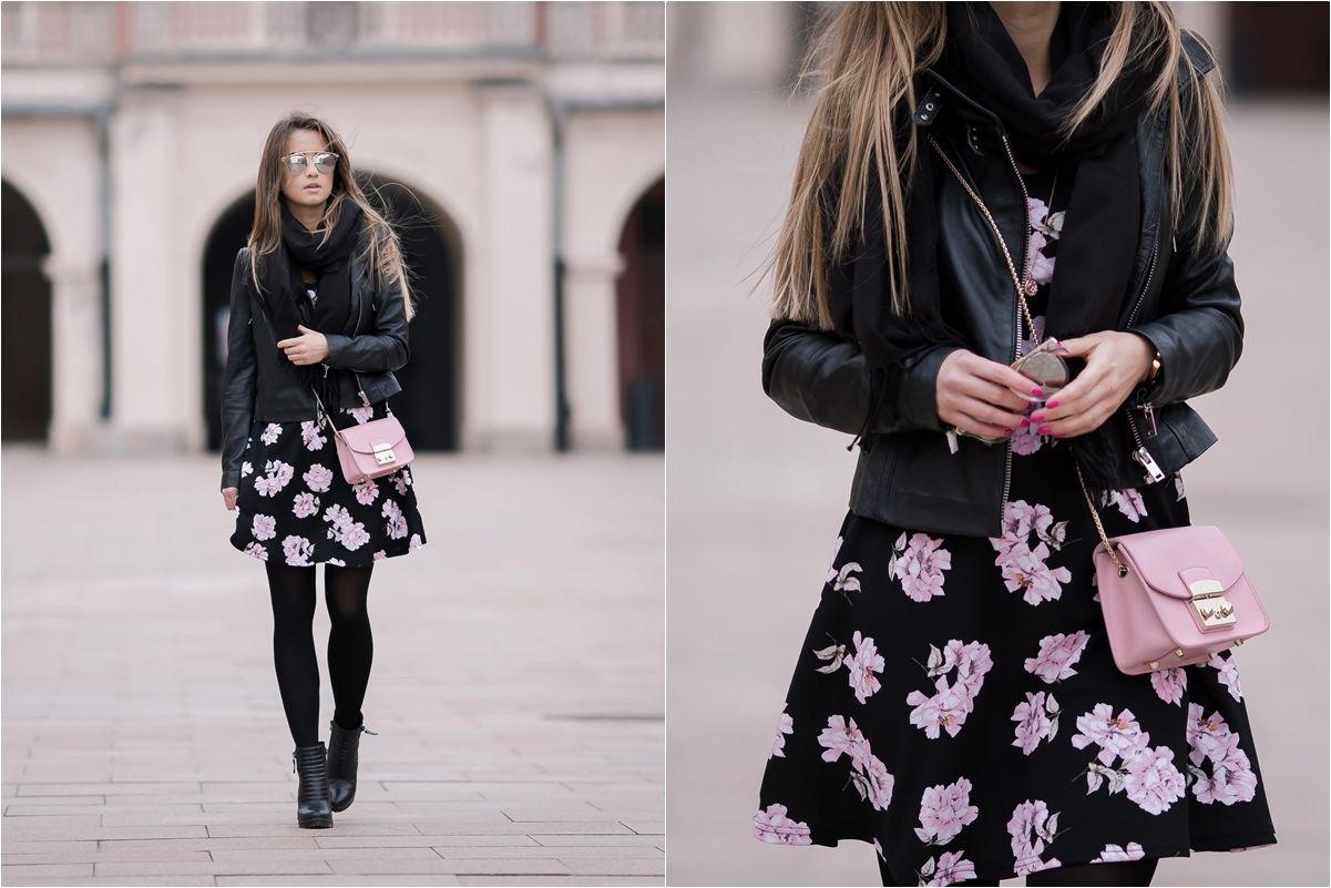 Sukienka W Kwiaty I Skorzana Ramoneska Look Of The Day Spring Summer Fashion Fashion Floral Skirt