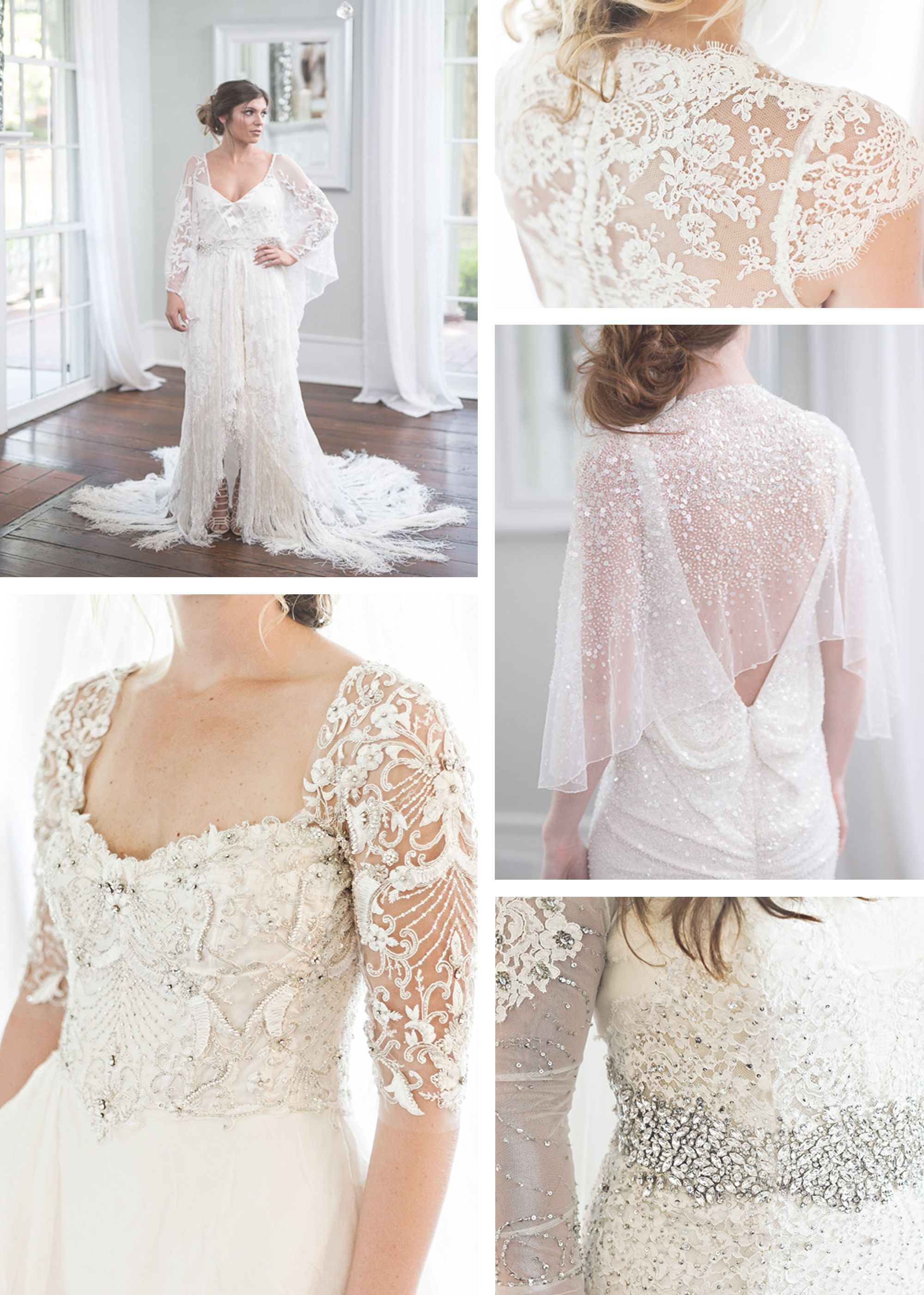Wedding Dresses With Detail Beading Lace Illusion Sleeves Low