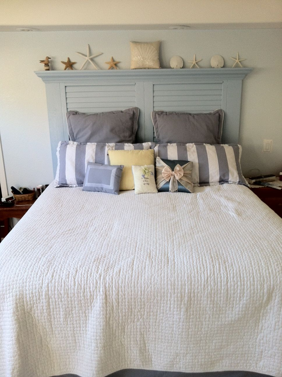 new headboard we made from a reused louvered door | our place