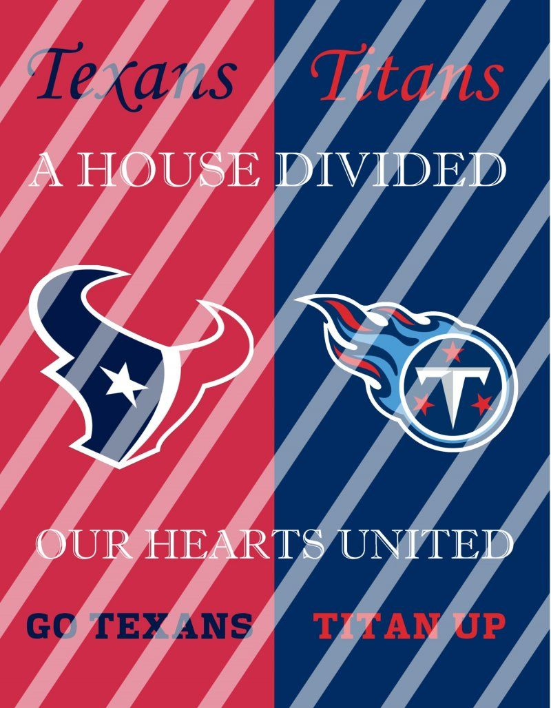 Texans Titans House Divided Wall Decor Sign Digital Or Shipped