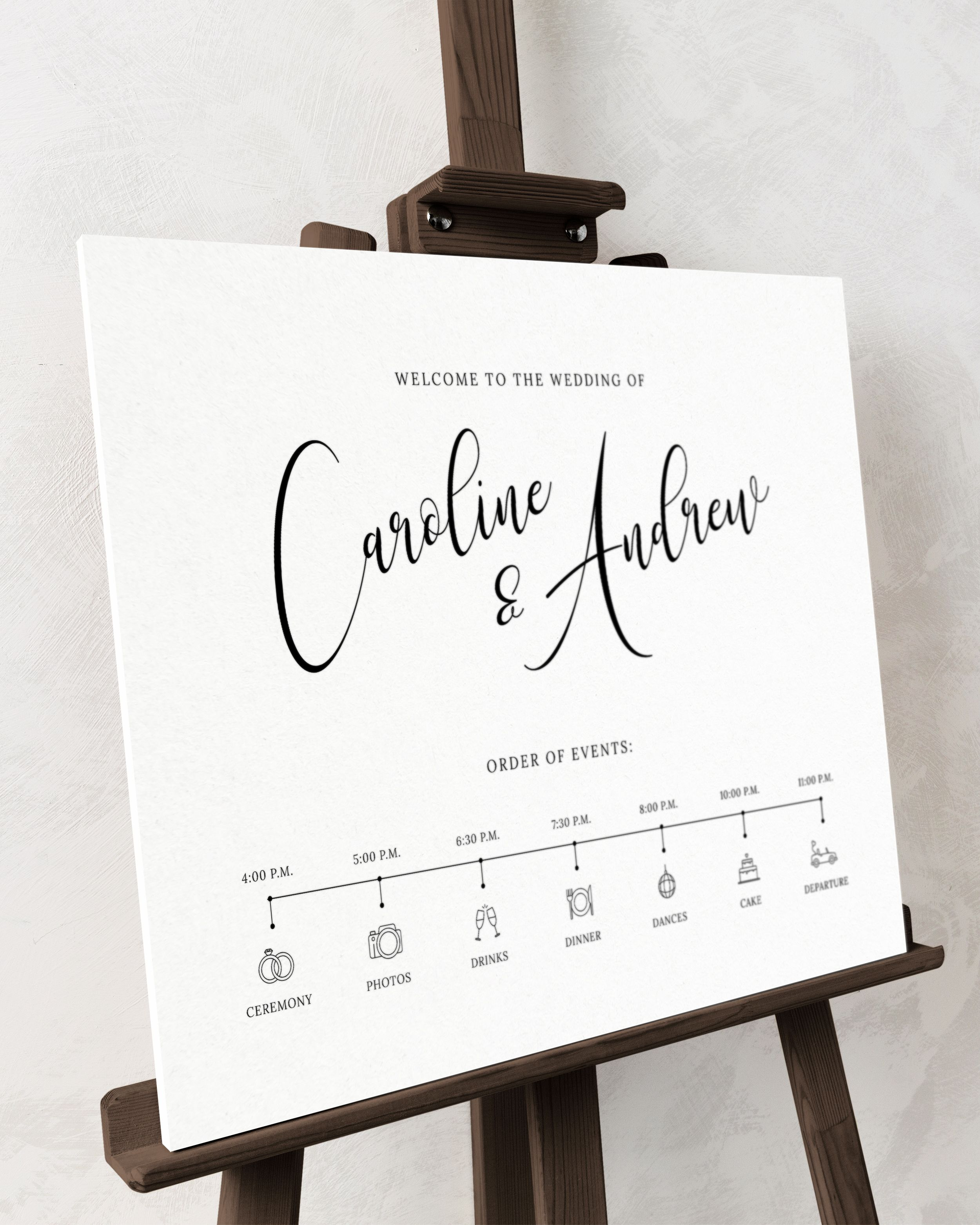 Calligraphy Wedding Timeline Template Black And White Printable Wedding Welcome Sign Printable Modern Minimalist Wedding Poster Cl19 In 2021 Wedding Timeline Wedding Timeline Template Diy Wedding Stationery