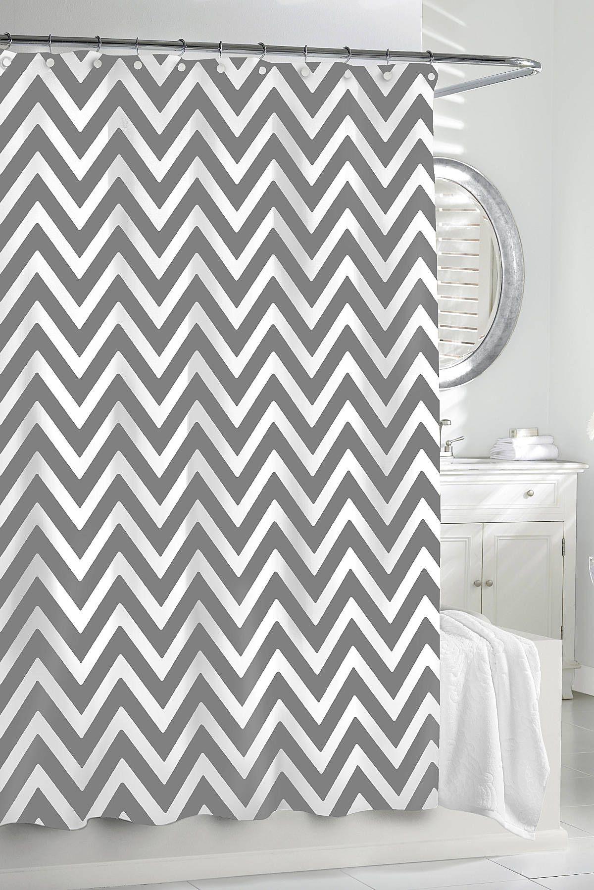 Nice Gray And White Chevron Shower Curtain Part - 1: Kassatex Chevron Shower Curtain - Gracious Home
