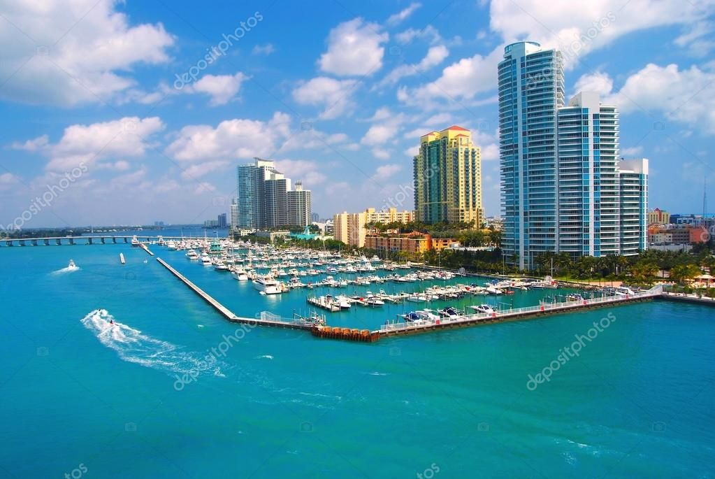 Aerial view of South Miami Beach and skycrappers Stock