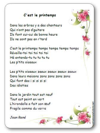 Chanson C Est Le Printemps De Jean Rene Paroles Illustrees A