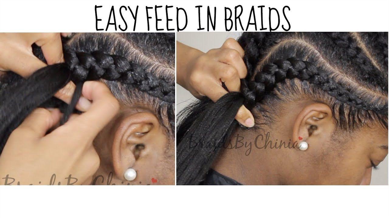 DETAILED Easy Feed In Braid Tutorial [Video | Braid tutorials and ...