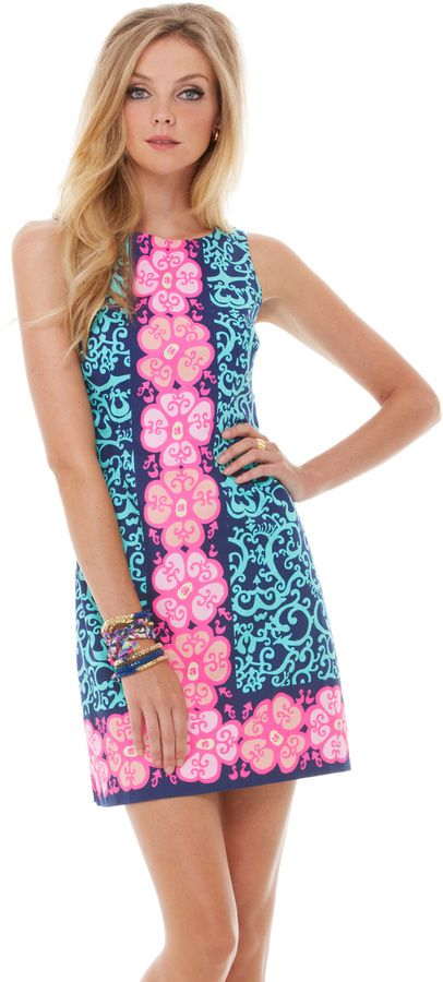 af3dd1d01978 Lilly Pulitzer Delia Shift Dress - women's fashion (multicolor, hot pink,  blue, bright navy dresses, clothing apparel)