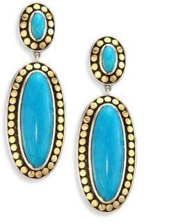 John Hardy Dot Oval Turquoise Drop Earrings N5HsxZvn