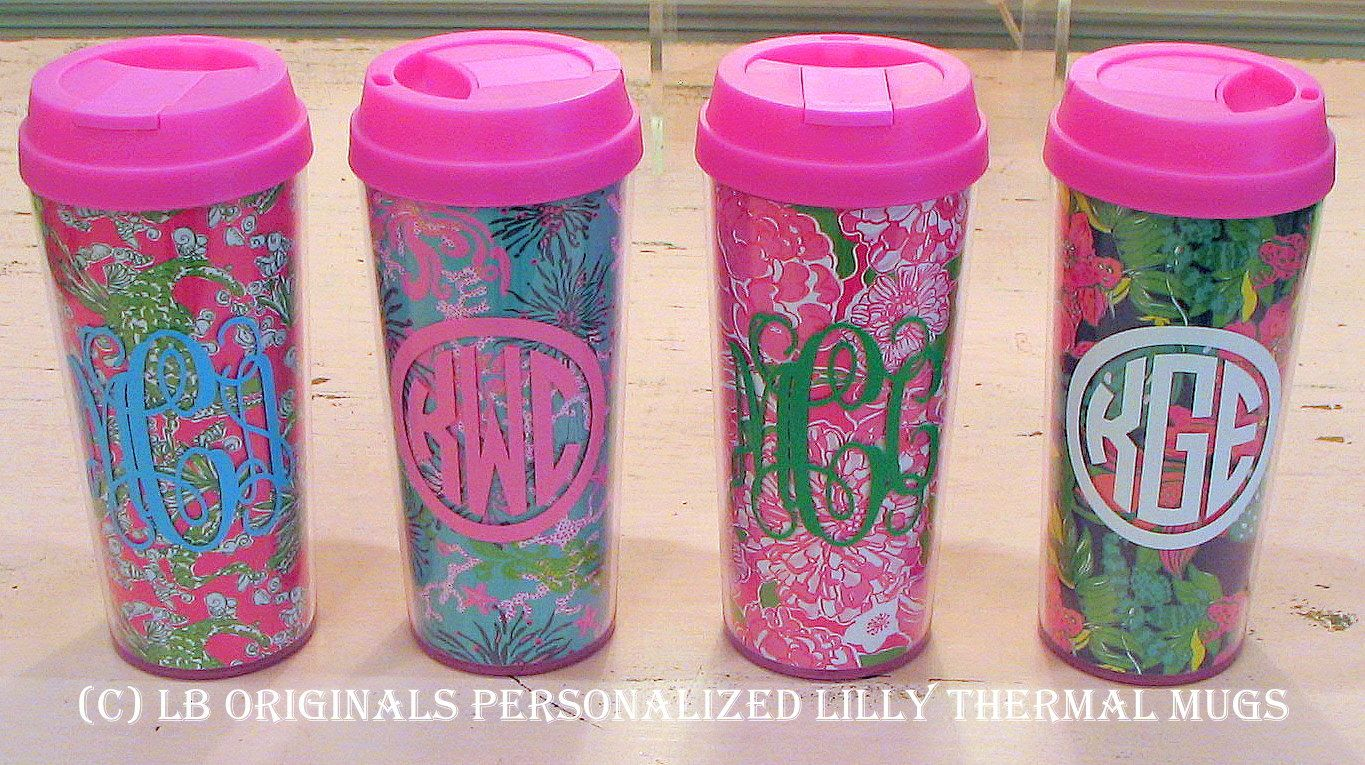 Personalized Lilly Pulitzer Thermal Mugs. $22.00, via Etsy.