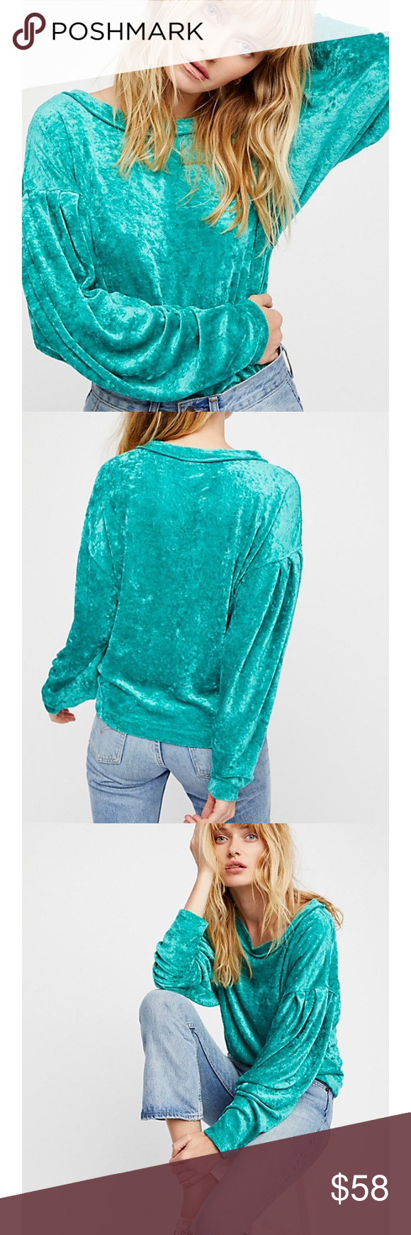 New Free People Luxe Velvet Seafoam Green Top We The Dolman Long Sleeve Layering Brand With Tags