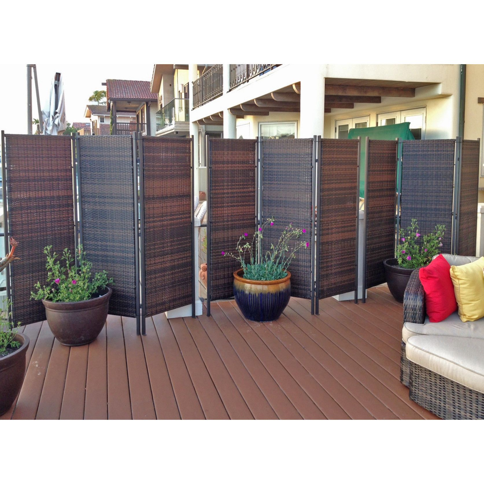 6ft tall outdoor wicker folding privacy screen partition for Outdoor privacy panels for decks